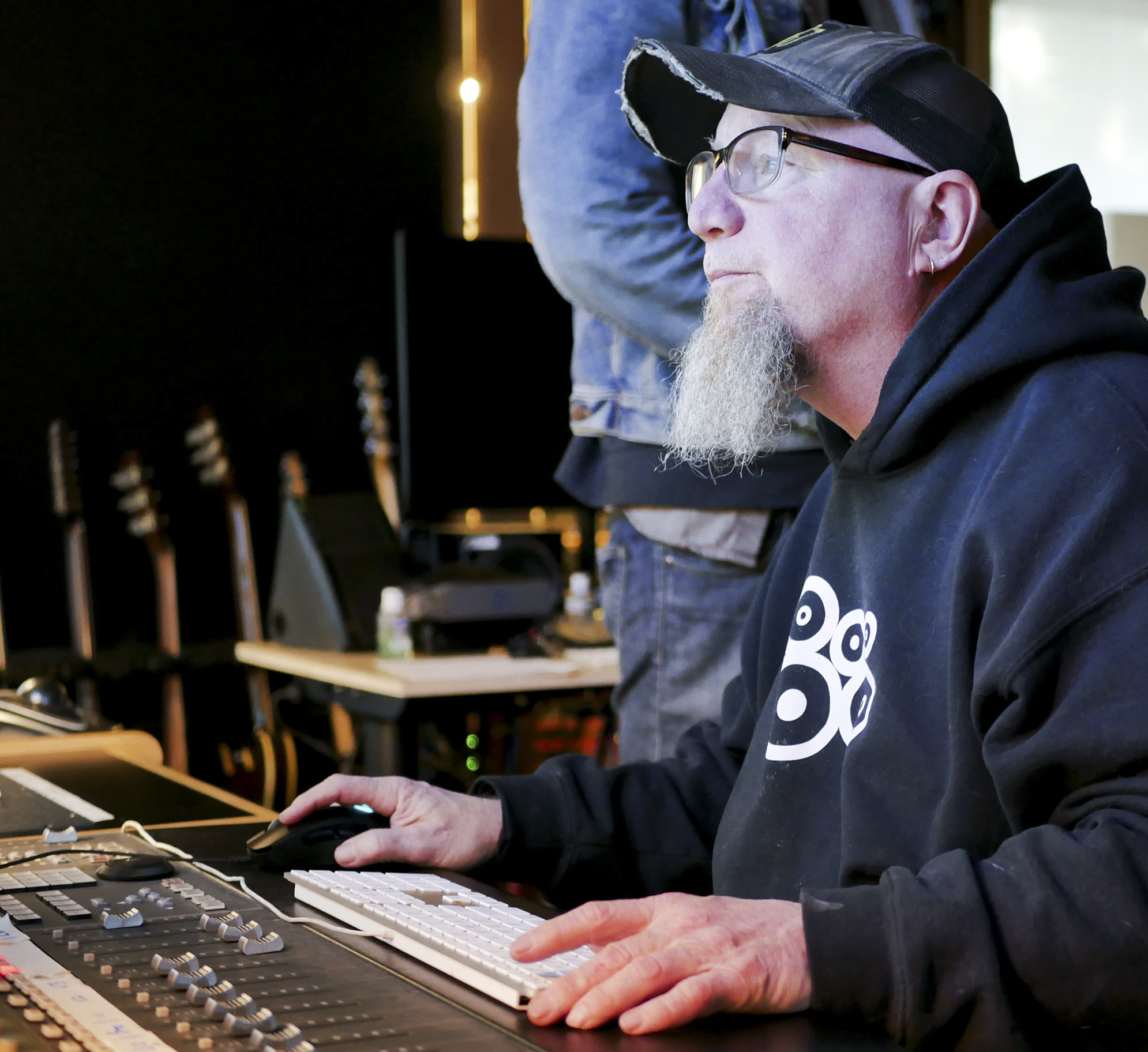 Garth Richardson at the helm on the control board
